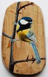 Koolmees op hout 15 x 26 cm._