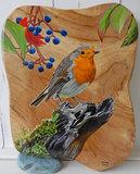 Roodborstje op hout 26 x 31 cm._