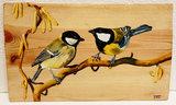 Koolmezen op hout 30 x 28 cm._