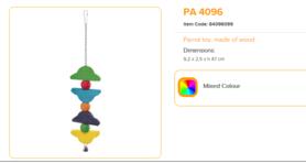 Ferplast - PA 4096 Houten Papegaaien Schommel  20 x 37 x 2,3 cm
