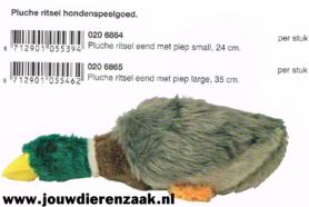 Hondenspeelgoed Pluche Ritsel Eend met Piep Small 24 Cm