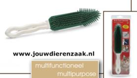 Rubber Anti-Haar Borstel Wit/Groen 27 Cm