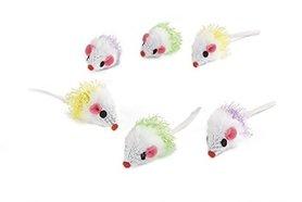 Beeztees pluche albino speelmuisjes 6 st