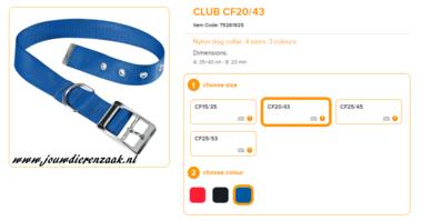 Ferplast - Nylon Halsband Club met Gesp Blauw 35-43cm - 20mm