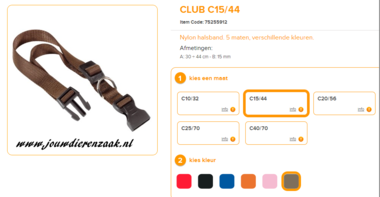 Ferplast - Nylon Halsband Club Bruin 30-44 15mm