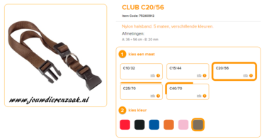 Ferplast - Nylon Halsband Club Bruin 36-56 20mm