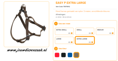 Ferplast - Easy Tuig Bruin Extra Large 62-90cm - 25mm