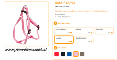 Ferplast - Easy Tuig Roze Large 50-78cm - 20mm