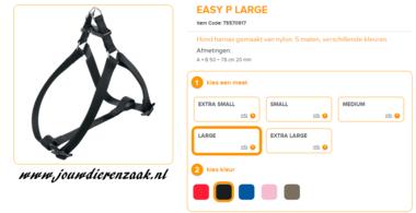 Ferplast - Easy Tuig Zwart Large 50-78cm - 20mm
