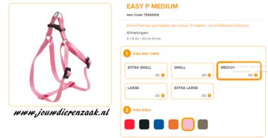 Ferplast - Easy Tuig Roze Medium 42-60cm - 15mm