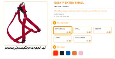 Ferplast - Easy Tuig Rood Extra Small 32-47cm - 10mm