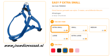 Ferplast - Easy Tuig Blauw Extra Small 32-47cm - 10mm