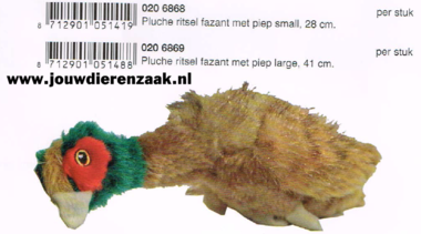 Hondenspeelgoed Pluche Ritsel Fazant met Piep Small 24 Cm