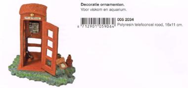 Polyresin Telefooncel Rood 16x11 CM