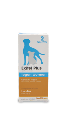 No Worm Exitel Plus 2 tabletten vanaf 0,5 kg