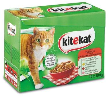 Kitekat - Multi-Pack Vlees en Vis in Saus(Eend en Kip-Kip en Lever-Rundvlees-Zalm en Forel) 12X0.1 kg