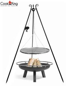 Cookking Grill(set): rooster met tripod(recht,180cm) + vuurschaal Bangui/Porto + haspel
