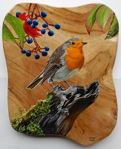 Roodborstje op hout 26 x 31 cm.